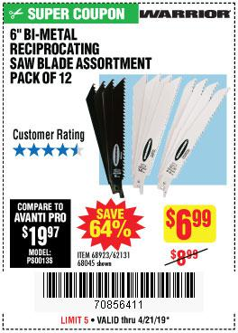 Harbor Freight Coupons, HF Coupons, 20% off - 6 In. General Purpose Bi-metal Reciprocating Saw Blade Assortment 12 Pc
