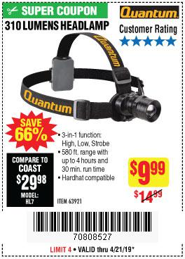 Harbor Freight Coupons, HF Coupons, 20% off - 310 Lumen Headlamp