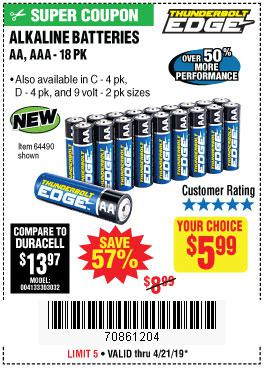 Harbor Freight Coupons, HF Coupons, 20% off - Alkaline Batteries, Aa, Aaa - 18pk