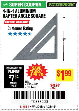 Harbor Freight Coupons, HF Coupons, 20% off - 4-in-1 Aluminum Rafter Angle Square