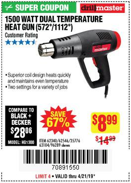 Harbor Freight Coupons, HF Coupons, 20% off - 1500 Watt Dual Temperature Heat Gun (572/1112)