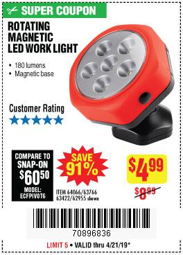 Harbor Freight Coupons, HF Coupons, 20% off - Rotating Magnetic Led Work Light