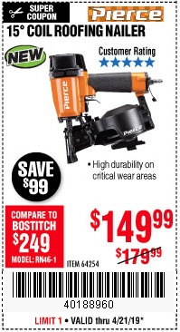 Harbor Freight Coupons, HF Coupons, 20% off - Pierce Professional Roofing Nailer