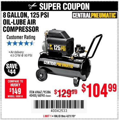 Harbor Freight Coupons, HF Coupons, 20% off - 2 Hp, 8 Gallon 125 Psi Portable Air Compressor