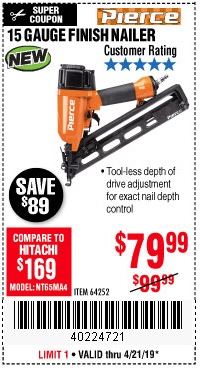 Harbor Freight Coupons, HF Coupons, 20% off - Pierce 15 Gauge Finish Nailer