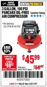 Harbor Freight Coupons, HF Coupons, 20% off - 3 Gallon, 100 Psi Oilless Air Compressors