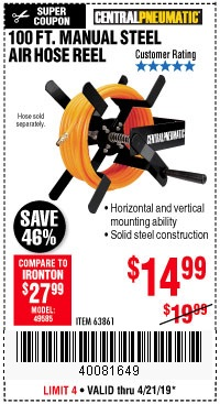 Harbor Freight Coupons, HF Coupons, 20% off - 100 Ft. Manual Steel Air Hose Reel