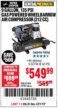 Harbor Freight Coupons, HF Coupons, 20% off - 7 Hp, 9 Gallon, 135 Psi Gas Powered Wheelbarrow Air Compressor (212 Cc)
