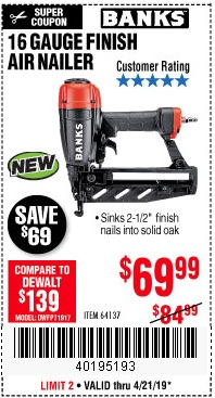 Harbor Freight Coupons, HF Coupons, 20% off - Banks 16 Gauge Finish Air Nailer
