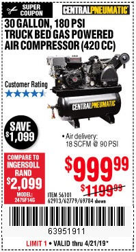 Harbor Freight Coupons, HF Coupons, 20% off - 14 Hp, 30 Gallon, 180 Psi Truck Bed Gas Powered Air Compressor (420 Cc)
