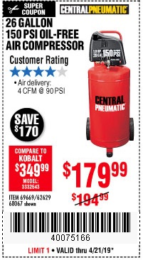 Harbor Freight Coupons, HF Coupons, 20% off - 1.8 Hp, 26 Gallon, 150 Psi Oilless Air Compressor