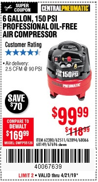 Harbor Freight Coupons, HF Coupons, 20% off - 1.5 Hp, 6 Gallon, 150 Psi Professional Air Compressor