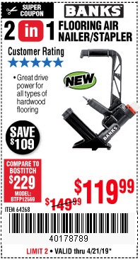 Harbor Freight Coupons, HF Coupons, 20% off - 2 In 1 Flooring Air Nailer/stapler