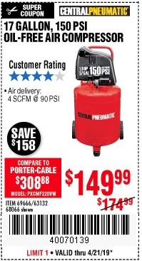 Harbor Freight Coupons, HF Coupons, 20% off - 1.8 Hp, 17 Gallon, 150 Psi Oilless Air Compressor