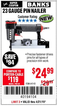 Harbor Freight Coupons, HF Coupons, 20% off - 23 Gauge Pin Nailer