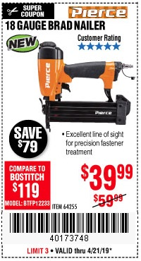 Harbor Freight Coupons, HF Coupons, 20% off - Pierce 18 Gauge Brad Nailer