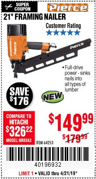 Harbor Freight Coupons, HF Coupons, 20% off - Pierce Professional Framing Nailer