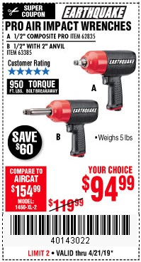 Harbor Freight Coupons, HF Coupons, 20% off - Earthquake 1/2