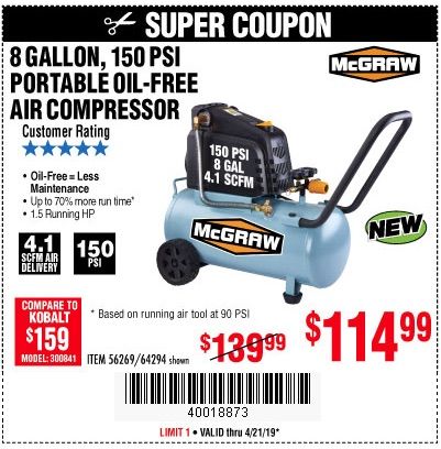 Harbor Freight Coupons, HF Coupons, 20% off - Mcgraw 150 Psi, 8 Gallon, 1.5 Hp Horizontal Compressor