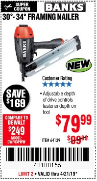 Harbor Freight Coupons, HF Coupons, 20% off - Banks 30'-34' Framing Nailer
