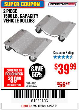 Harbor Freight Coupons, HF Coupons, 20% off - 2 Piece 1500 Lb. Capacity Vehicle Wheel Dollies