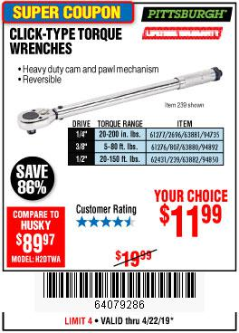 Harbor Freight Coupons, HF Coupons, 20% off - Click-type Torque Wrenches