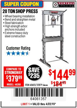 Harbor Freight Coupons, HF Coupons, 20% off - 20 Ton Shop Press