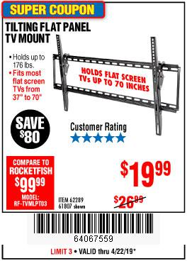 Harbor Freight Coupons, HF Coupons, 20% off - Large Tilt Mount Flat Panel Tv Bracket