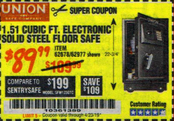Harbor Freight Coupons, HF Coupons, 20% off - 1.51 Cubic Ft. Solid Steel Digital Floor Safe
