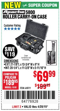 Harbor Freight Coupons, HF Coupons, 20% off - Apache 5800 Roller Carry On Case