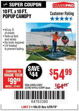 Harbor Freight Coupons, HF Coupons, 20% off - Coverpro 10 Ft. X 10 Ft. Popup Canopy