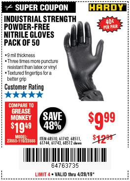 Harbor Freight Coupons, HF Coupons, 20% off - Industrial Strength Powder-free Nitrile Gloves Pack Of 50