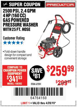 Harbor Freight Coupons, HF Coupons, 20% off - 2500 Psi, 2.4 Gpm 4 Hp (160 Cc) Pressure Washer