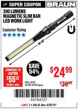 Harbor Freight Coupons, HF Coupons, 20% off - Braun 390 Lumen Slim Bar Folding Led Worklight