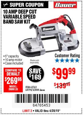 Harbor Freight Coupons, HF Coupons, 20% off - 10 Amp Deep Cut Variable Speed Band Saw Kit