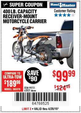 Harbor Freight Coupons, HF Coupons, 20% off - 400 Lb. Capacity Receiver-mount Motorcycle Carrier
