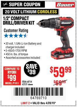 Harbor Freight Coupons, HF Coupons, 20% off - Bauer 20 Volt Lithium Cordless 1/2
