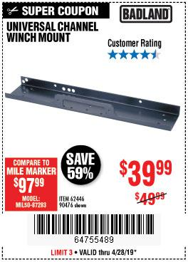 Harbor Freight Coupons, HF Coupons, 20% off - Universal Channel Winch Mount