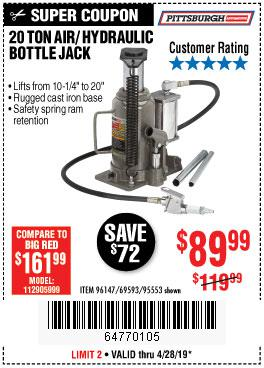 Harbor Freight Coupons, HF Coupons, 20% off - 20 Ton Air/hydraulic Bottle Jack