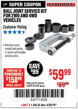 Harbor Freight Coupons, HF Coupons, 20% off - Ball Joint Service Kit For 2wd And 4wd Vehicles