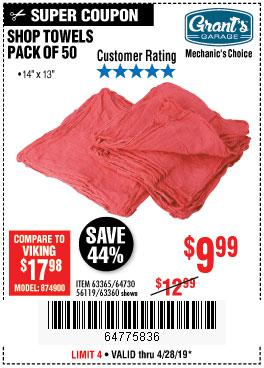 Harbor Freight Coupons, HF Coupons, 20% off - Mechanics Choice Shop Towels Pack Of 50