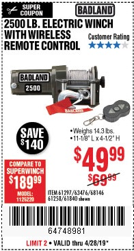 Harbor Freight Coupons, HF Coupons, 20% off - 2500 Lb Electric Winch With Wireless Remote Control