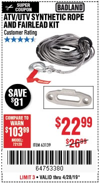 Harbor Freight Coupons, HF Coupons, 20% off - Atv/utv Synthetic Rope And Fairlead Kit