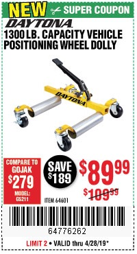 Harbor Freight Coupons, HF Coupons, 20% off - Daytona 1300 Lb. Capacity Vehicle Positioning Wheel Dolly