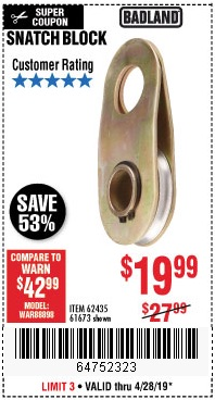 Harbor Freight Coupons, HF Coupons, 20% off - Snatch Block