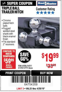 Harbor Freight Coupons, HF Coupons, 20% off - Triple Ball Trailer Hitch