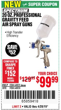 Harbor Freight Coupons, HF Coupons, 20% off - 20 Oz. Professional Hvlp Gravity Feed Air Spray Gun