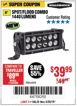 Harbor Freight Coupons, HF Coupons, 20% off - 1440 Lumens 8 In. Combo Light Bar