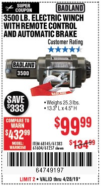 Harbor Freight Coupons, HF Coupons, 20% off - 3500 Lb. Electric Winch With Remote Control And Automatic Brake