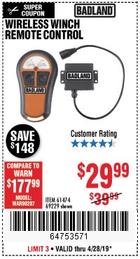 Harbor Freight Coupons, HF Coupons, 20% off - Wireless Winch Remote Control